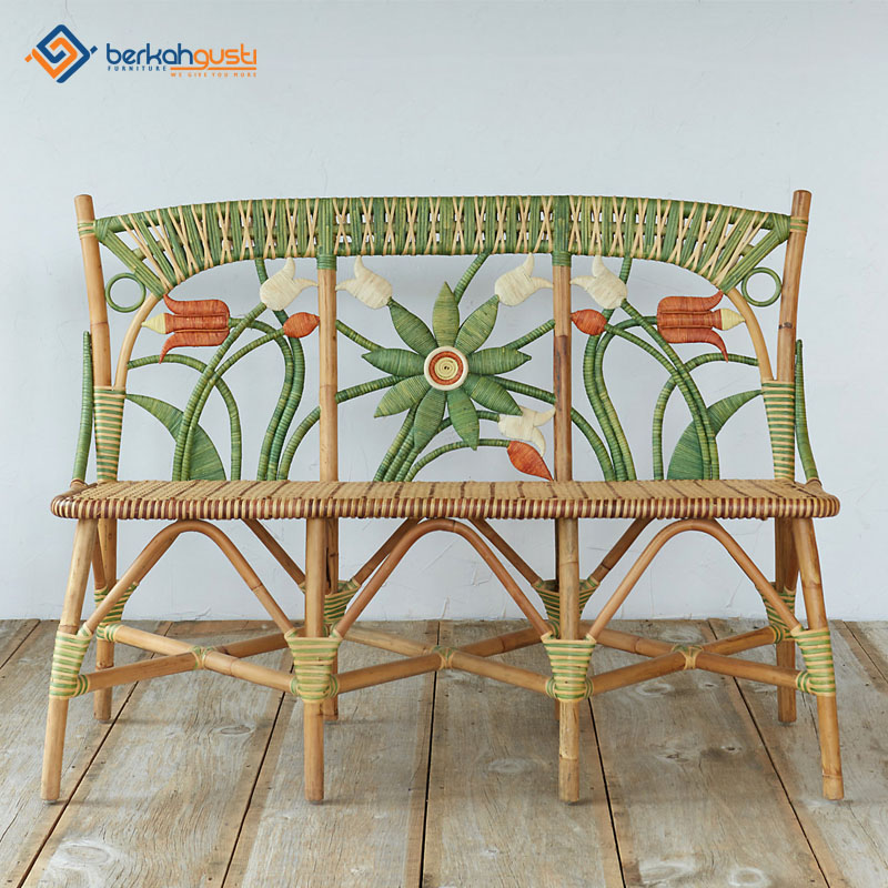 Rattan Bench - Floral
